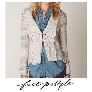Free People Braided Knit Striped Cardigan Size M